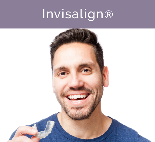 Man smiling with Invisalign mouth piece in his hand.