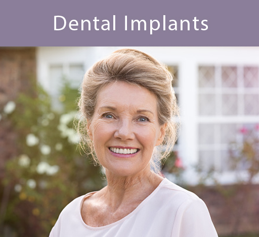 Woman smiling about dental implant.